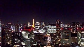 東京湾岸夜景 ドローン空撮 4K