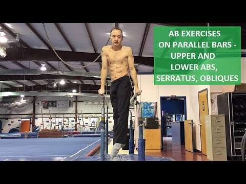 AB EXERCISES ON PARALLEL BARS – UPPER/LOWER ABS, SERRATUS AND OBLIQUES WORKOUT ROUTINE 4K