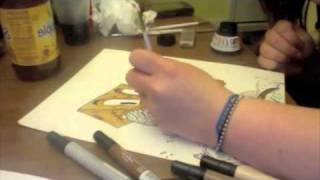 speed painting in India ink