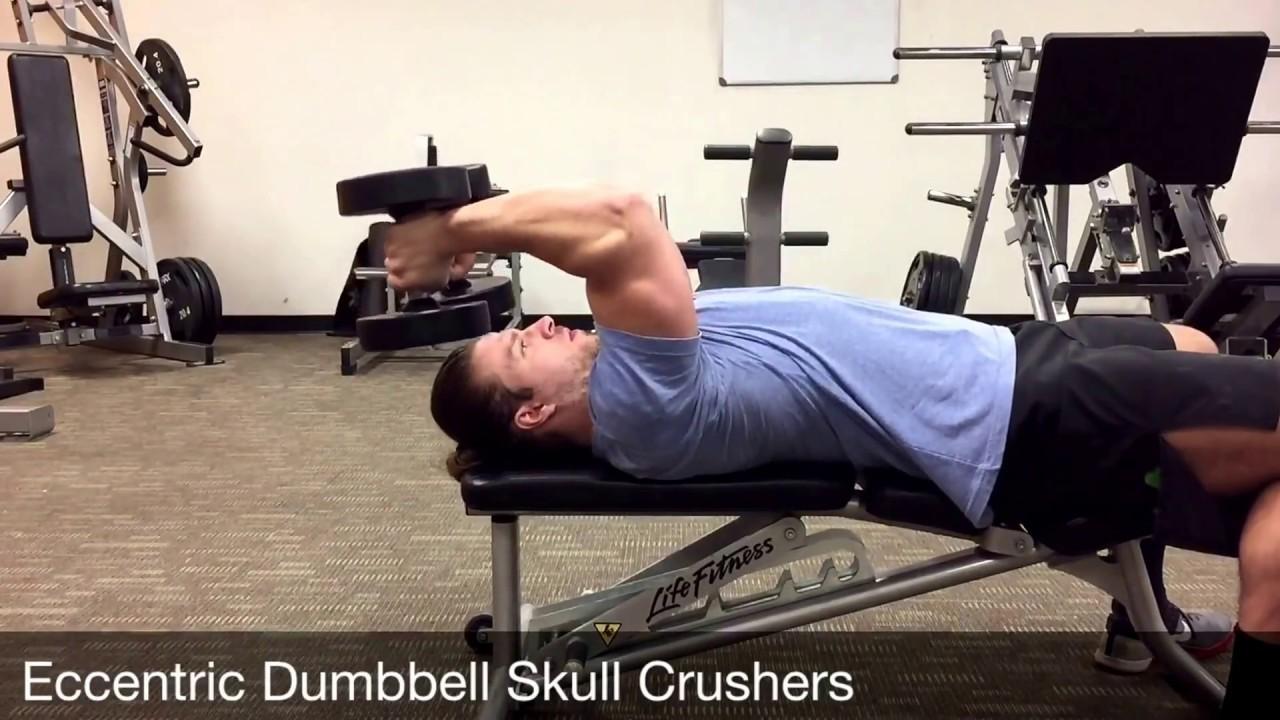 Eccentric Dumbbell Skull Crushers - YouTube
