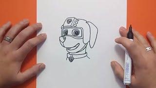 Como dibujar a Zuma paso a paso - La Patrulla Canina | How to draw Zuma - Canine Patrol