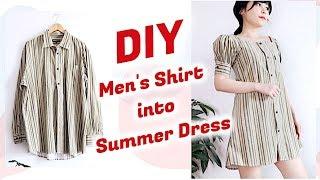 vuclip Refashion DIY Men's Shirt into Summer Dress / DIYファッション + 洋服 / 古着リメイク / 옷리폼 / COSTURAㅣmadebyaya
