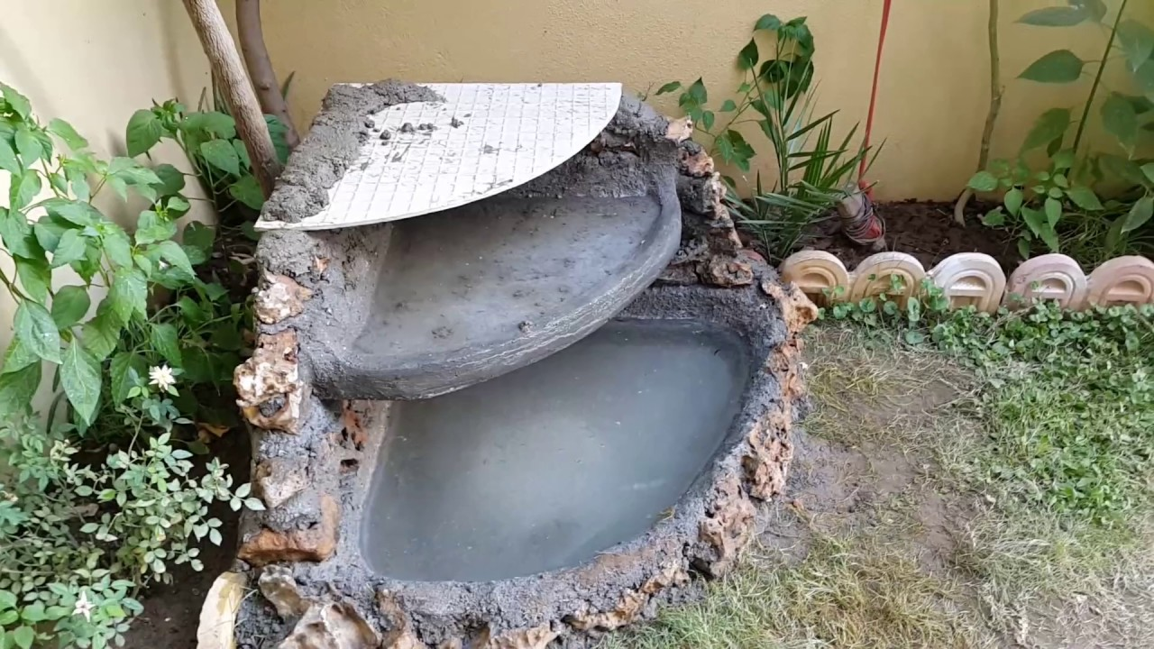 Homemade Simple Concrete Stone Small Fountain!