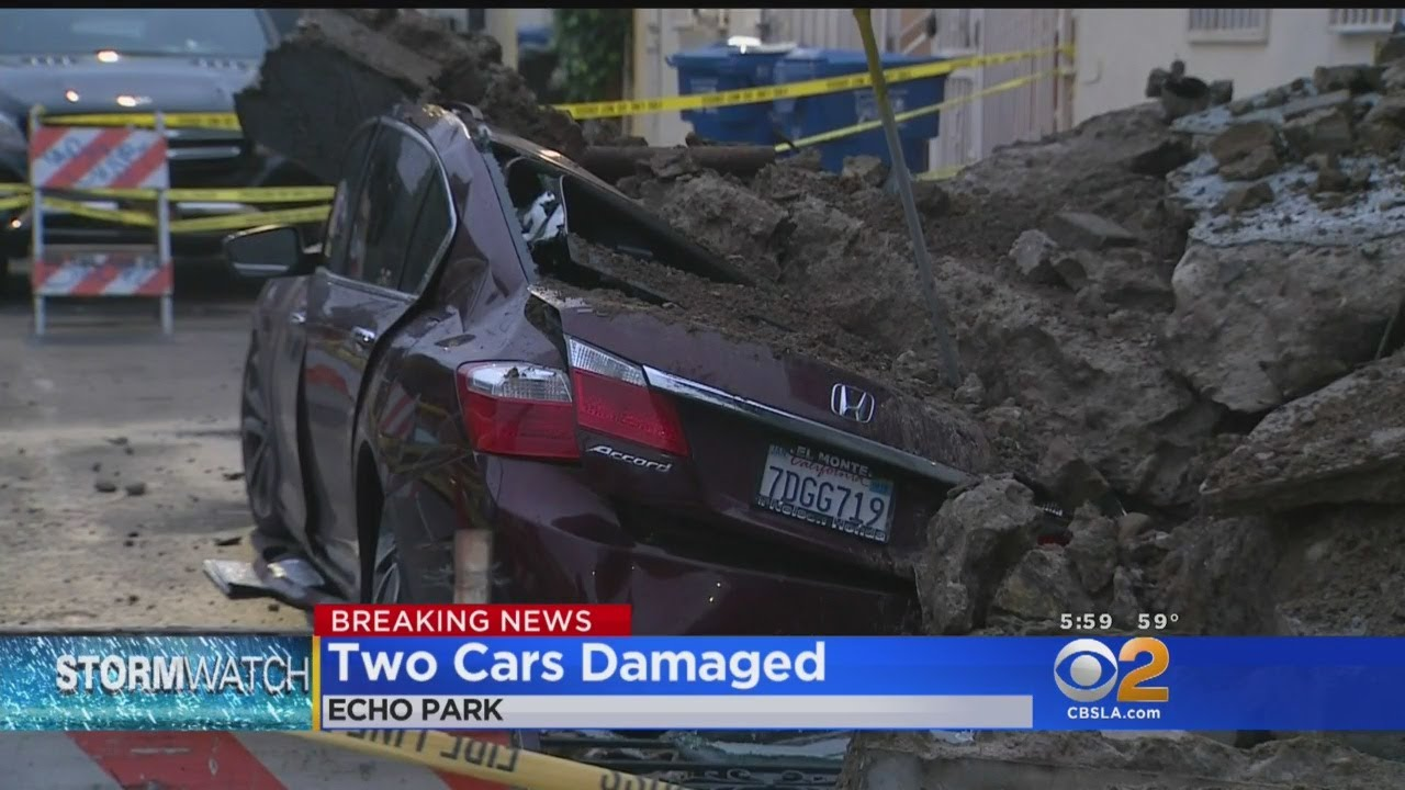 Gas Leak In Car >> Wall Collapses In Echo Park Damages 2 Cars And Triggers Gas Leak