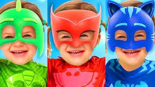 Learn Colors with PJ Masks and JOHNY JOHNY Yes Papa Song Nursery Rhymes for Children Toddlers Babies