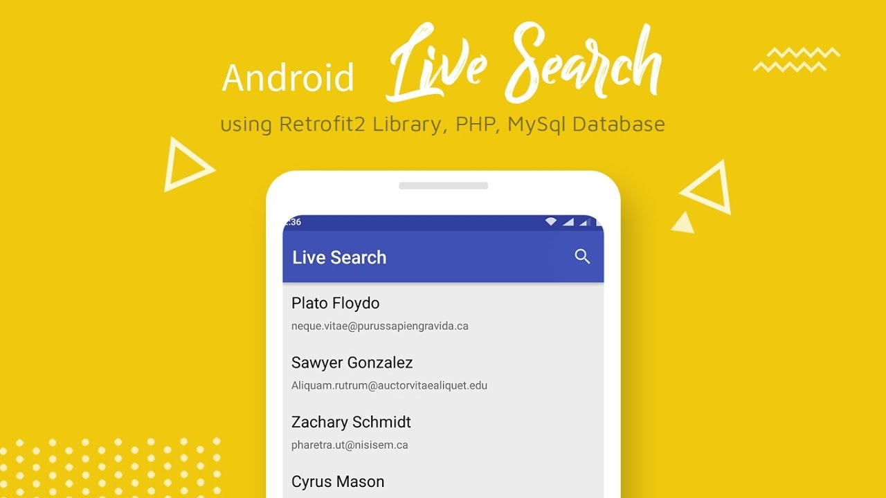 Android 🔎 Live Search (Retrofit2, PHP, MySQL) -   RecyclerView, SearchView   image