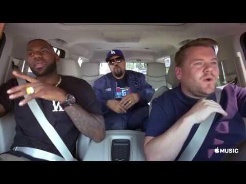 "Carpool Karaoke"" It Was A Good Day "" Lebron James & James Corden  & Ice Cube"