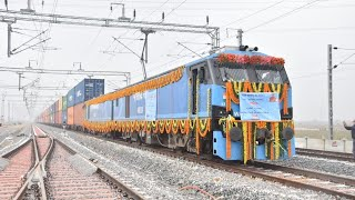 World's first Long Haul Double Stack container freight train crossing | Indian Railways.