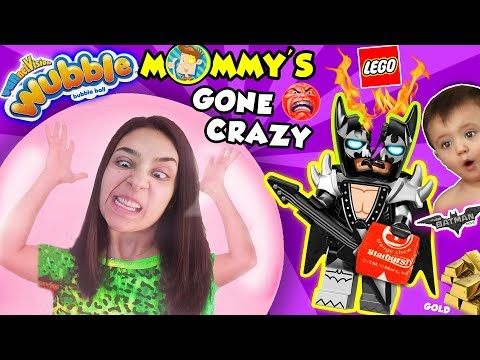 MOMMY'S GONE MAD! LEGO BATMAN MOVIE Toy & Wubble Bubble Ball OOF! FUNnel Family CRAZY LADY