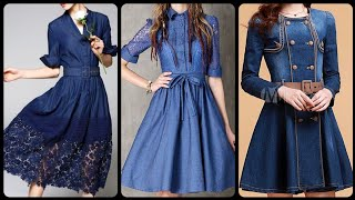 Stunning And Most popular Denim Skater And Midi Dresses Frock Style Denim embroidered dresses