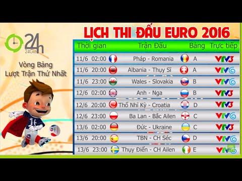 Lịch thi đấu Euro 2016 Hôm Nay - Lịch Trực tiếp bóng đá Vòng chung kết Euro