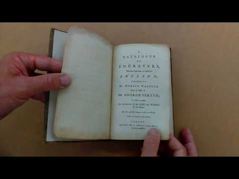1786 BOOK by HORACE WALPOLE on ENGLISH ENGRAVERS and the WORKS of GEORGE VERTUE.