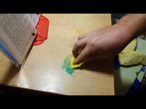 удаление зеленки и надписей на столе