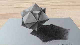 HOW TO DRAW 3D STAR CUBE - Drawing Cuboctahedron Illusion