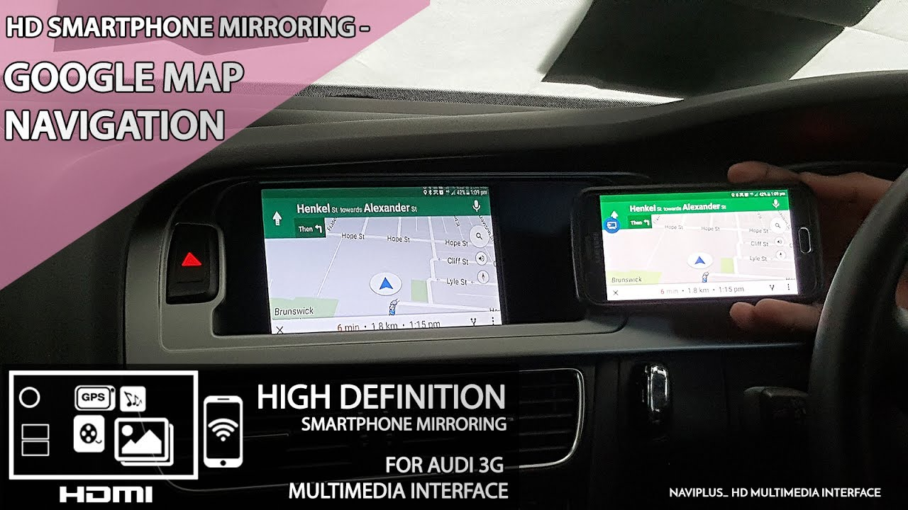 AUDI 3GMMI -HD Smartphone Mirroring # Google Map Navigation on android map, microsoft map, 3m map, venice venice louisianna bay map, mobile map, java map, click map, google map, at&t map, greater china map,