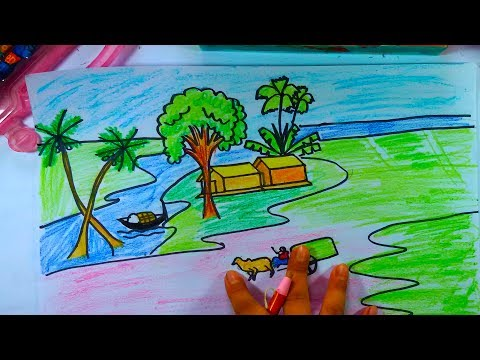 How To Draw A Village Scenery Step By Step | Drawing Village Picture | Easy Drawing