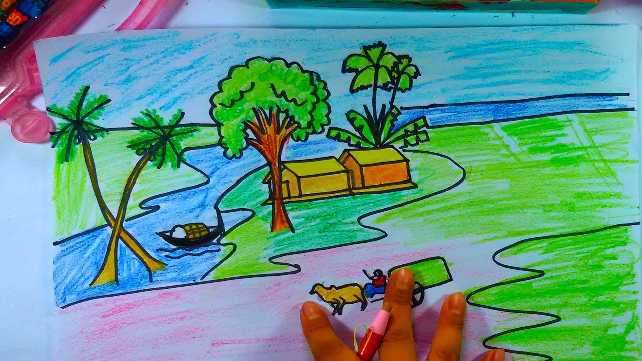 How To Draw A Village Scenery Step By Step Drawing Village Picture