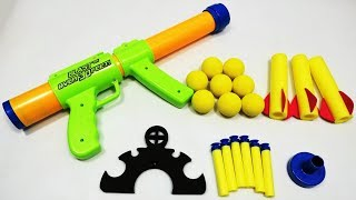 Gun Toy Shoot Air Blast - Push Handle To Shoot - 8 Soft Foam Balls - Shoot up to 30 Feet!!