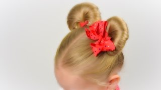 Minnie Mouse ears hairsyle. Party hairstyle #6