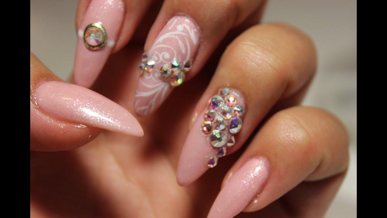Princess Pink Swarovski Nails Youtube