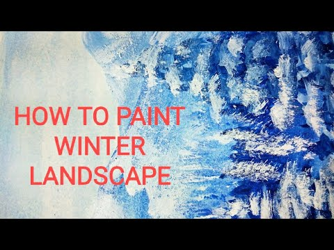 Easy Abstract Landscape/How to paint winter landscape Easy for beginners/Daily Art /Acrylic Painting