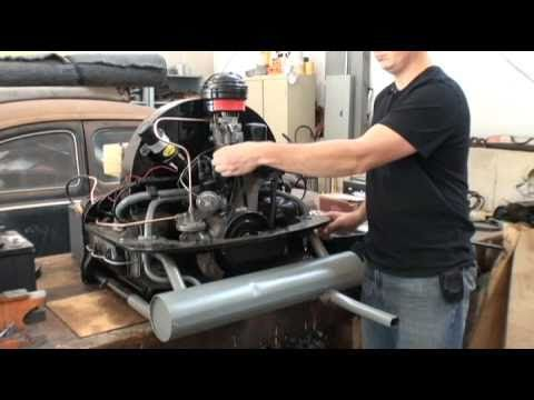 Classic VW Beetle Bug How to Start Rebuilt Engine on Floor Bench or Stand  YouTube