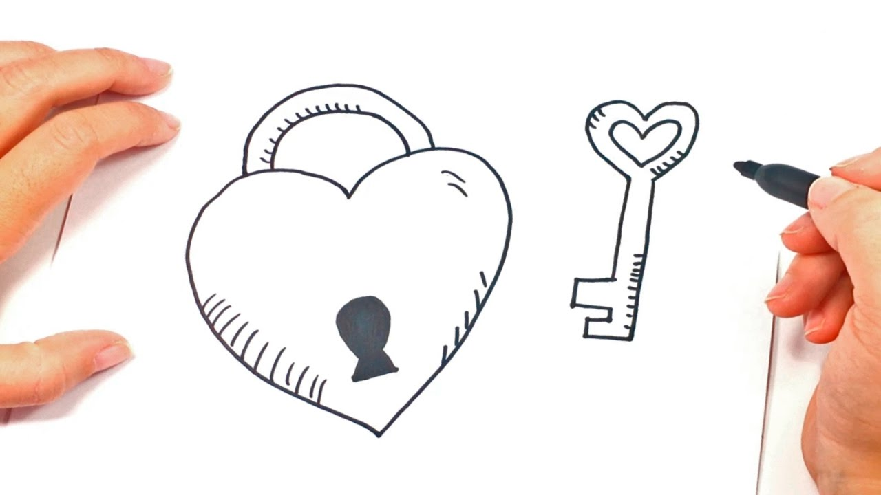 Cómo Dibujar Un Corazón Con Llave Paso A Paso
