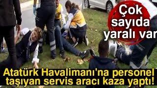 Bakırköy'de Trafik Kazası! Personel Taşıyan Servis Aracı Ağaca Çarptı