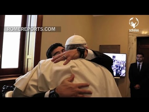 Pope Francis' warm embrace with Argentinian soccer legend, Maradona