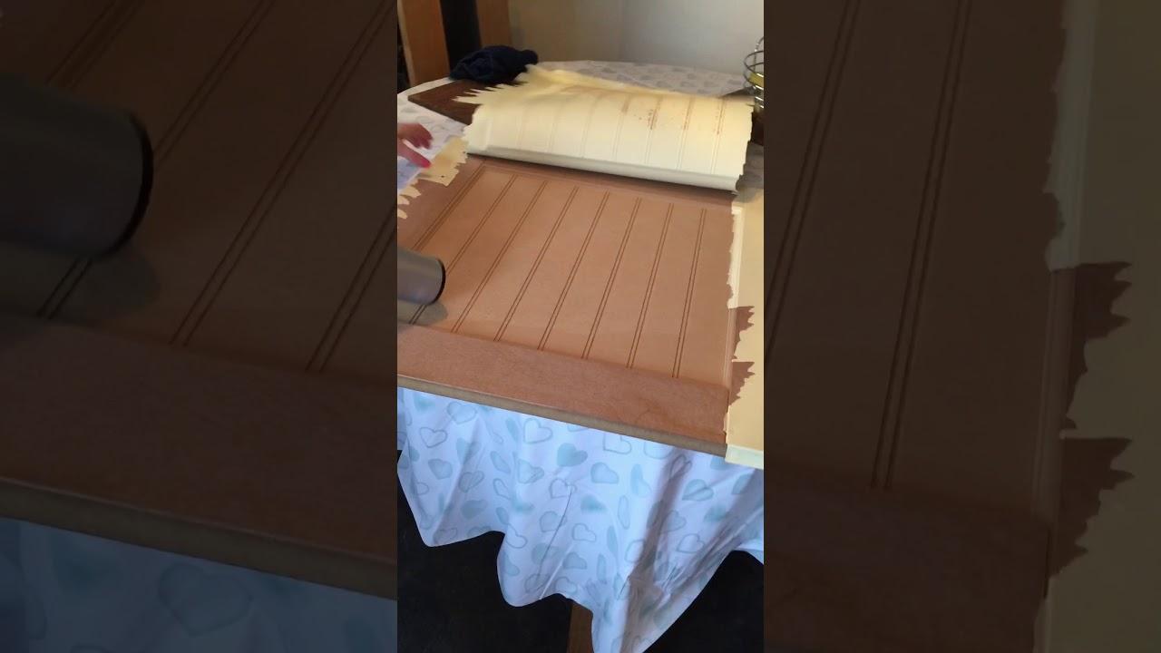 How To Remove Laminate Vinyl Plastic From Kitchen Cabinet Door Youtube