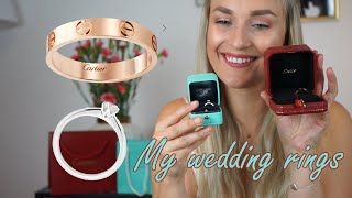 Cartier Love Wedding Band and Tiffany&Co Engagement Ring Review, wear&tear, hand modeling