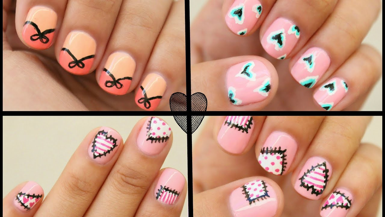 2017 Valentines Day Nail Art 3 Easy Designs Youtube