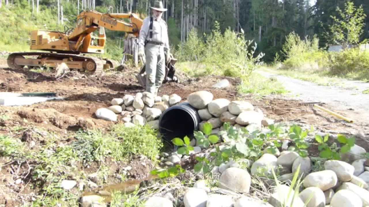 Building A Rock Headwall For Culvert In Three Minutes Youtube