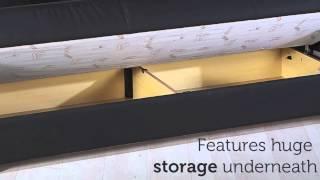 Floris Three Seat Sofa Sleeper With Storage In Black