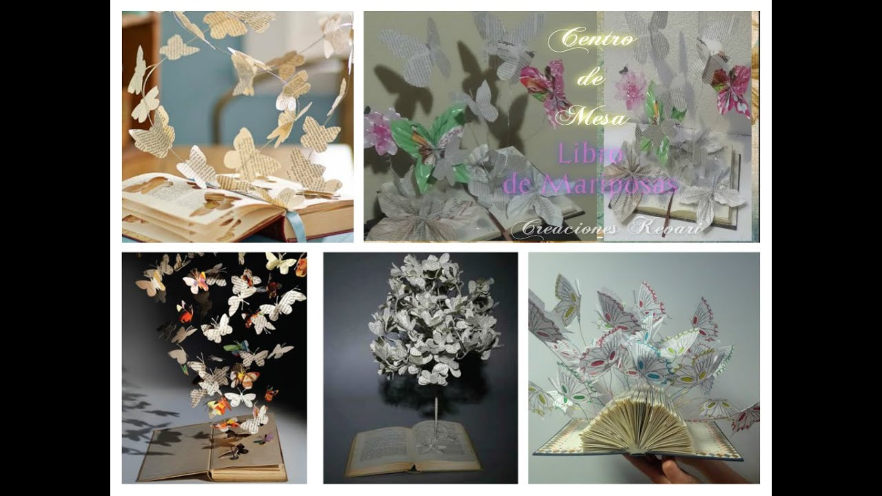 Centro de mesa libro de mariposas de papel diy matrimonios - Mesas de libro para salon ...