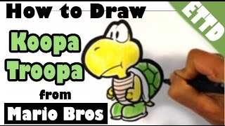 How to Draw Koopa Troopa from Super Mario - Easy Things to Draw