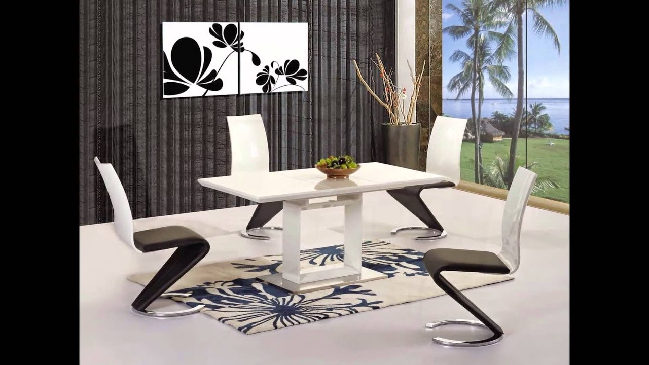 White high gloss black glass dining table and 6 chairs set YouTube