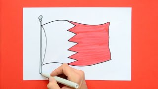 How to draw and color the National Flag of Bahrain