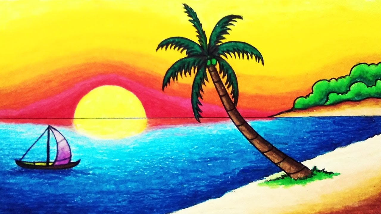 How to Draw Sunset in Tropical Beach for Beginners | Easy Nature Scenery Drawing Step by Step