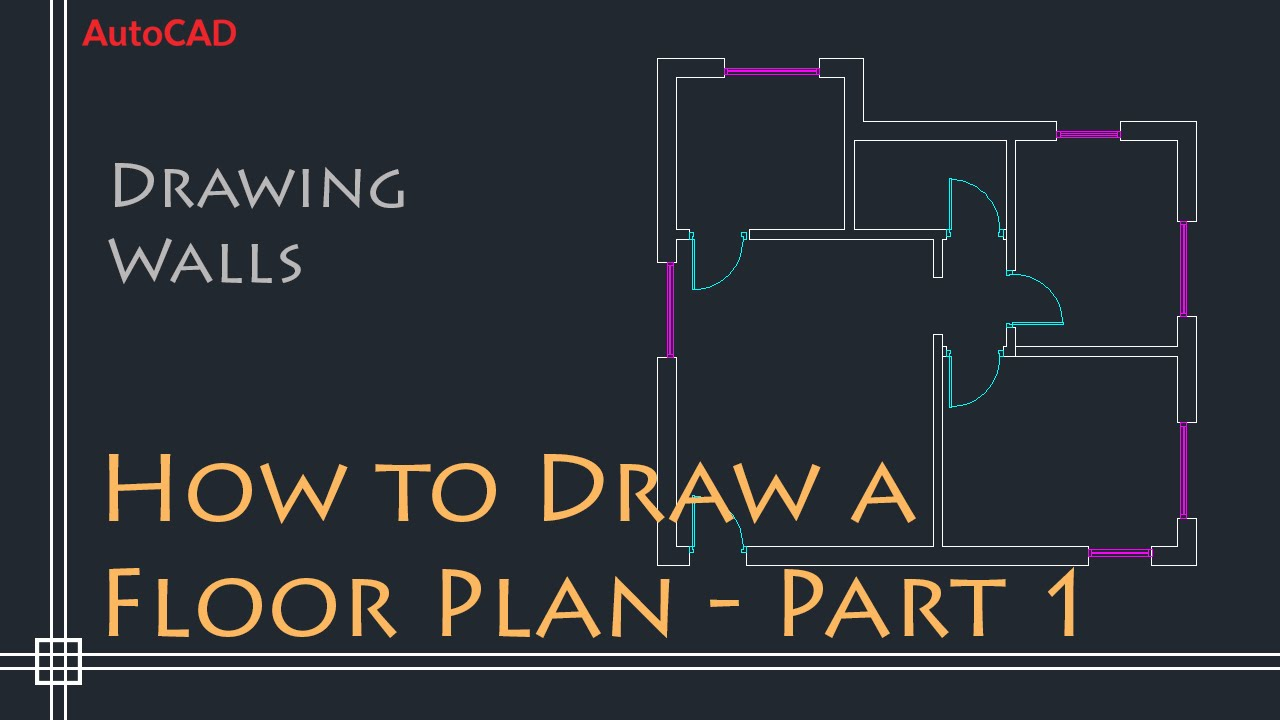 autocad 2d basics - tutorial to draw a simple floor plan (fast and  efective!) part 1 - youtube