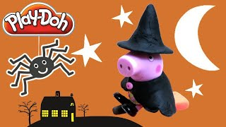 🎃 Play Doh Peppa Pig Dress Up as Flying Wicked Witch Halloween Costumes 2015 Smurfs & Mickey Mouse