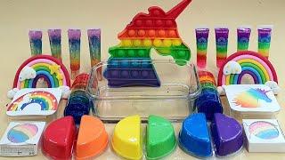 Rainbow Unicorn Slime  Mixing Eyeshadow And GLITTER Into Slime,Satisfying Slime Videos ASMR