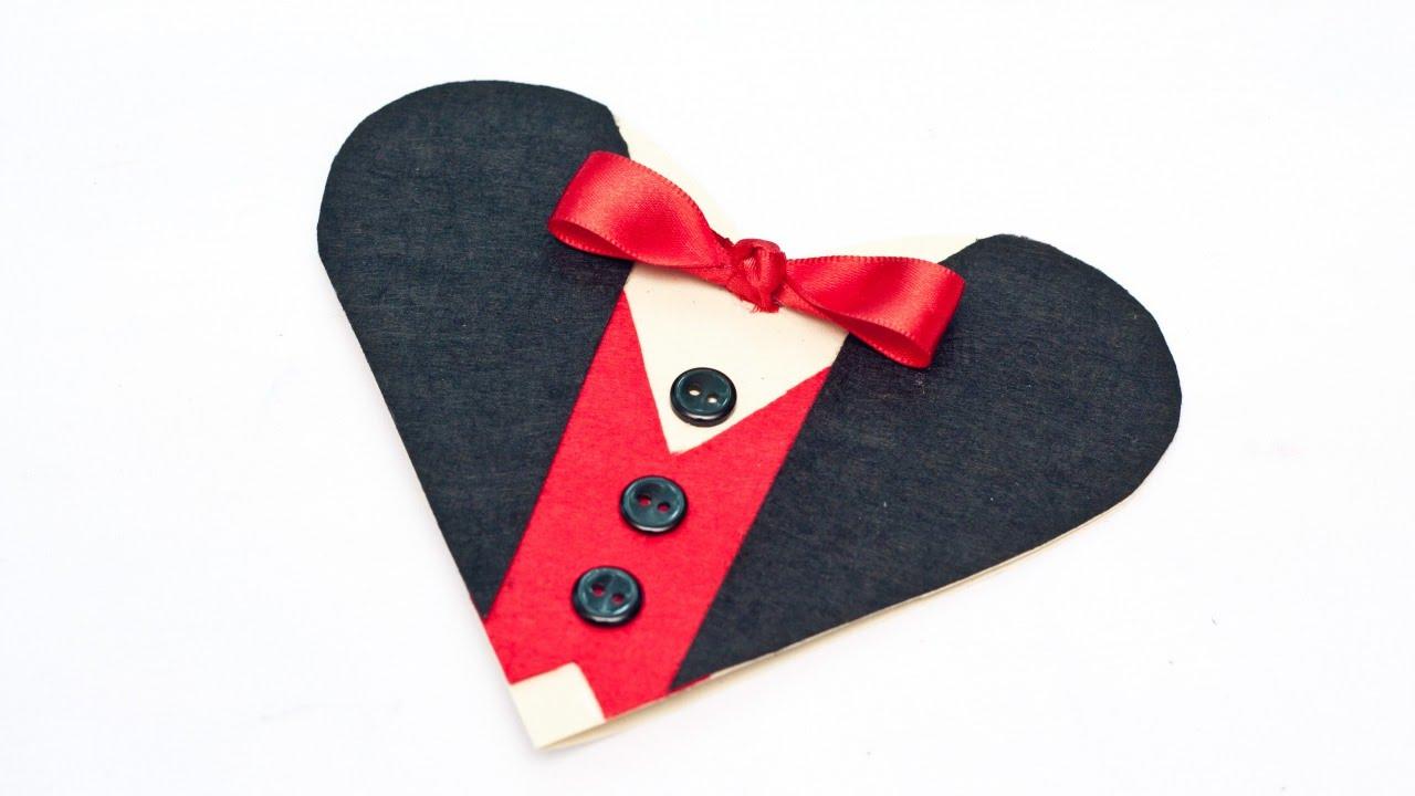 Create an Elegant Tuxedo Valentine Heart Card DIY Crafts – Valentine Heart Card