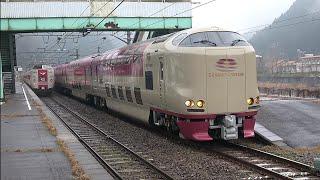 江尾駅で運転停車し、普通列車とやくも10号を待つ遅れサンライズ出雲を撮影(2020/2/8)
