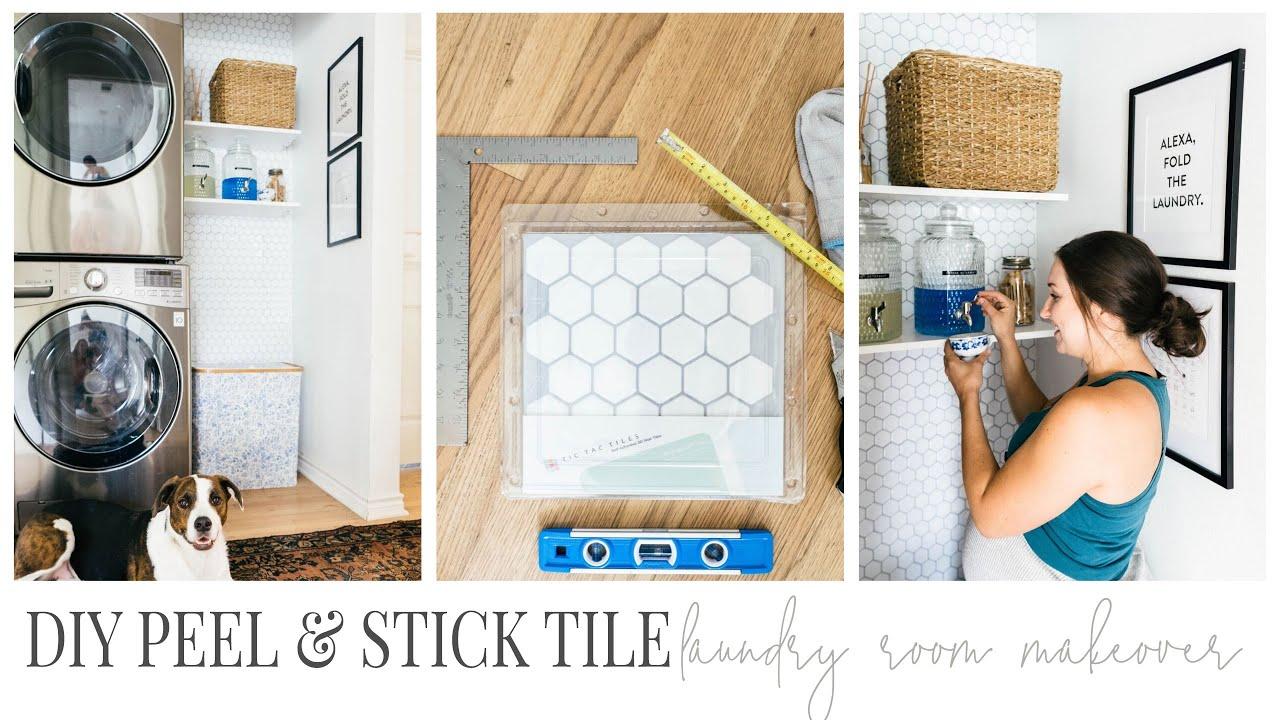 diy laundry room refresh peel stick tile
