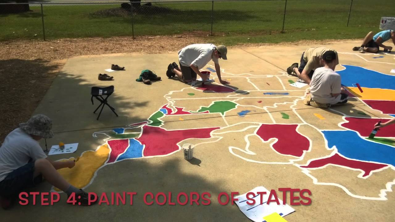 How To Paint The US Map YouTube - Giant us map stencil