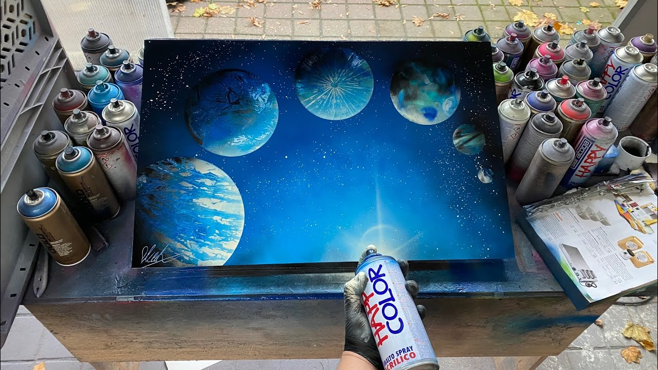 DIY  6 Planets on 6 different ways TUTORIAL - SPRAY ART by SKECH