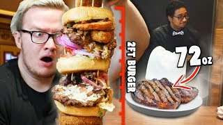 I Ate A HUGE Burger On My First Date - GIANT Food Challenge