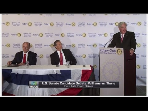 South Dakota US Senate debate: John Thune vs Jay Williams