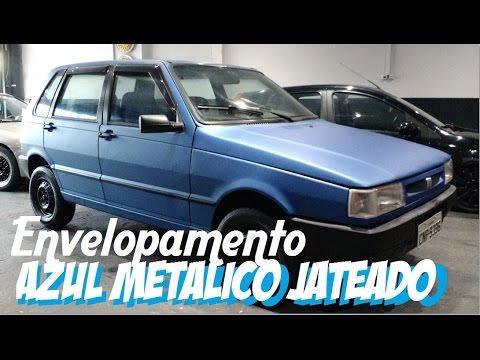 Envelopamento Uno Azul Metalico Jateado Upgrade Garage